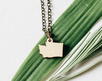 Washington Laser Engraved Mini Pendant Necklace