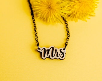 Mrs Script Engraved Necklace