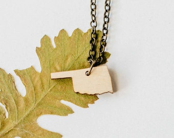 Oklahoma Wood Necklace, Laser Cut Wood Charm, Baltic Birch Pendant, Oklahoma State Necklace, State Shape Necklace, Oklahoma State Pride