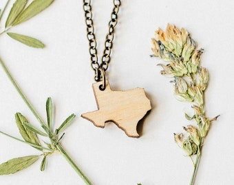 Texas Wood Necklace, Laser Cut Wood Charm, Baltic Birch Pendant, Texas State Necklace, State Shape Necklace, Texas State Pride