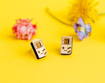 Gameboy Laser Engraved Stud Earrings