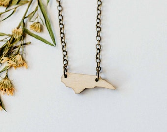 North Carolina Wood Necklace, Laser Cut Wood Charm, Baltic Birch Pendant, North Carolina State Necklace, State Shape Necklace, State Pride