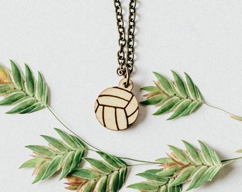 Volleyball Laser Engraved Mini Pendant Necklace