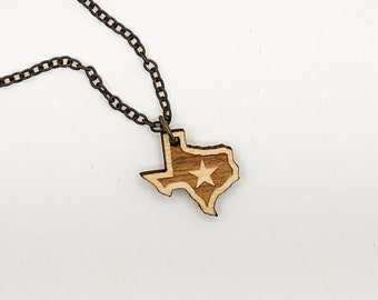 Texas Star Laser Engraved Necklace
