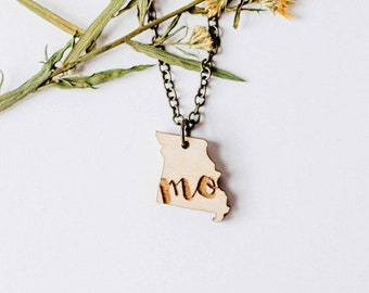 "Missouri Initial ""MO"" Engraved Necklace, Laser Cut Wood Charm, Missouri State Necklace, State Shape Necklace, Missouri State Pride"