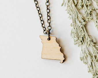 Missouri Wood Necklace, Laser Cut Wood Charm, Baltic Birch Pendant, Missouri State Necklace, State Shape Necklace, Missouri State Pride