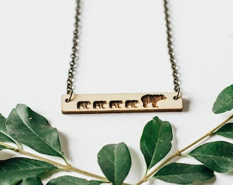 Mama Bear and 4 Cubs Bar Necklace Laser Cut Wood Charm Baltic Birch Pendant Minimalist Necklace Engraved Mama Bear and Four Cubs Bar Necklac