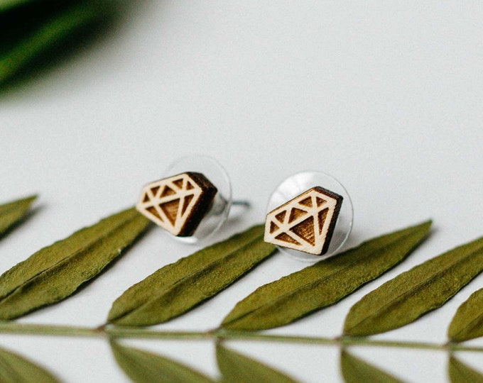 Featured listing image: Diamond Shape Laser Engraved Earrings, Laser Cut Wood Earrings, Minimalist Stud Earring, Tiny Stud Earring, Gift for Her