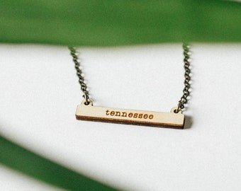 Tennessee Miniature Laser Engraved Bar Necklace