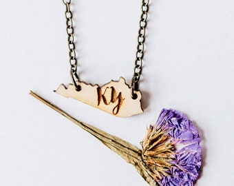 """Kentucky Initial """"KY"""" Engraved Necklace, Laser Cut Wood Charm, Kentucky State Necklace, State Shape Necklace, Kentucky State Pride"""