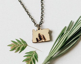Oregon Wood Engraved Trees Necklace