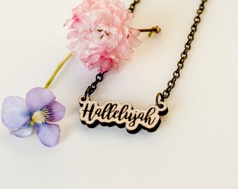 Hallelujah Script Laser Engraved Necklace