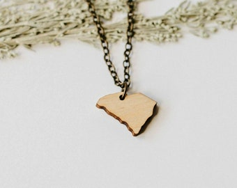 South Carolina Wood Necklace, Laser Cut Wood Charm, Baltic Birch Pendant, South Carolina State Necklace, State Shape Necklace, State Pride