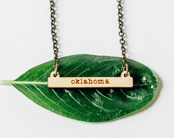 Oklahoma Laser Engraved Miniature Bar Necklace