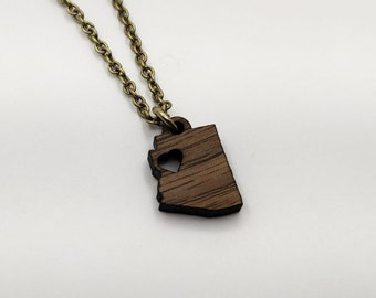 Arizona Hometown Love Personalized Necklace, Laser Engraved, Home, Walnut, Wood, AZ