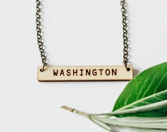 Washington Laser Engraved Bar Necklace
