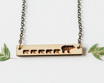 Mama Bear and 5 Cubs Bar Necklace Laser Cut Wood Charm Baltic Birch Pendant Minimalist Necklace Engraved Mama Bear and Five Cubs Necklace