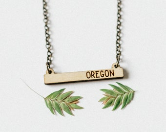 Oregon Laser Engraved Mini Bar Necklace,