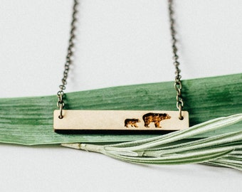 Mama Bear and 1 Cub Bar Necklace, Laser Cut Wood Charm, Baltic Birch Pendant Minimalist Necklace Engraved Mama Bear and One Cub Bar Necklace
