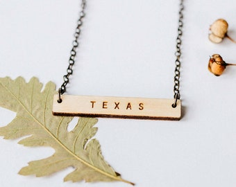 Texas Wood Bar Necklace, Laser Cut Wood Charm, Baltic Birch Pendant, Minimalist Necklace, Texas State Pride, Engraved State Necklace