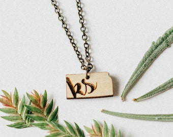 "Kansas ""KS"" Engraved Laser Cut Pendant Necklace"