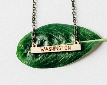 Washington Laser Engraved Mini Bar Necklace