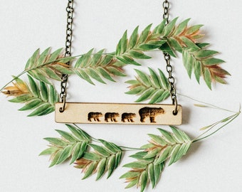 Mama Bear and 3 Cubs Bar Necklace Laser Cut Wood Charm Baltic Birch Pendant Minimalist Necklace Engraved Mama Bear and Three Cubs Necklace