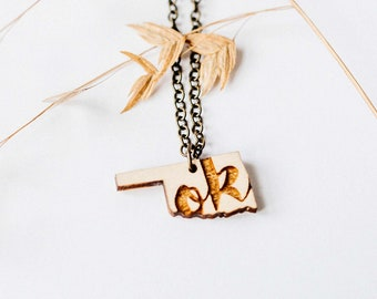"Oklahoma Inital ""OK"" Engraved Necklace, Laser Cut Wood Charm, Oklahoma State Necklace, State Shape Necklace, Oklahoma State Pride"