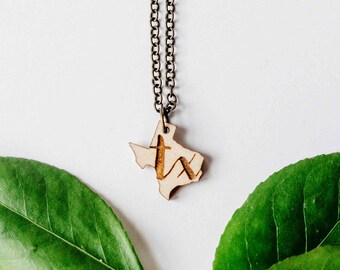 "Texas Initial ""TX"" Engraved Necklace, Laser Cut Wood Charm, Texas State Necklace, State Shape Necklace, Texas State Pride"
