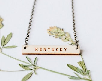 Kentucky Wood Bar Necklace, Laser Cut Wood Charm, Baltic Birch Pendant, Minimalist Necklace, Kentucky State Pride, Engraved State Necklace