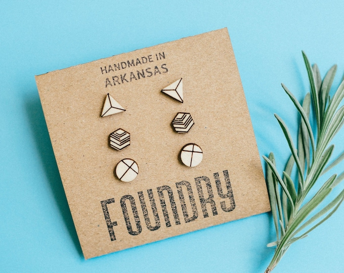 Featured listing image: Geometric Wood Stud Earrings Set, Triangle, Circle, Hexagon, Laser Cut Wood Earrings, Minimalist Studs, Mens Earrings, Hipster Earrings