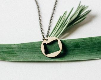 Oregon Ring Outline Laser Engraved Necklace