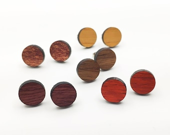 Exotic Wood Laser Cut Circle Stud Earrings, mens earrings, hipster, minimalist studs