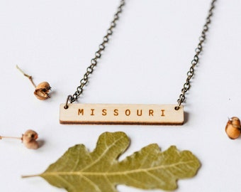 Missouri Wood Bar Necklace, Laser Cut Wood Charm, Baltic Birch Pendant, Minimalist Necklace, Missouri State Pride, Engraved State Necklace