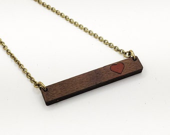 Heart Valentine's Wood Walnut Bar Necklace Laser Engraved Cut