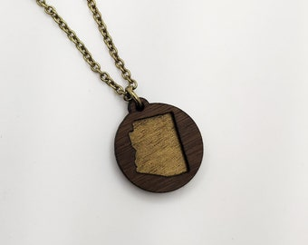 Arizona Layered Gold Painted laser Cut Wood Pendant Circle Necklace, AZ State