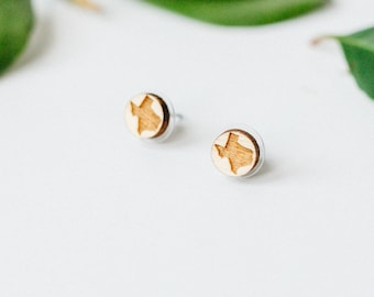 Texas Engraved Wood Stud Earrings, Laser Cut Wood Earrings, Minimalist Studs, Men Earrings, Hipster Earrings, Women Earring, Gift for Her
