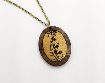 In Christ Alone Hymn Hymnal Laser Cut Necklace Wood Scripture