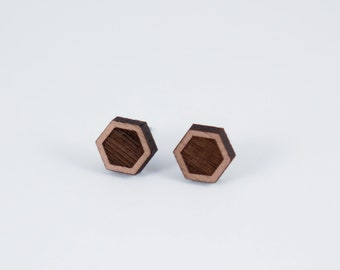 Simple Hexagon Wood Stud Earrings | Geometric Laser Cut Wood Earrings | Minimalist Studs | Men Earrings | Women Earrings