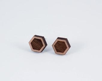 Simple Hexagon Wood Stud Earrings | Geometric Laser Cut Wood Earrings | Minimalist Studs | Men Earrings | Women Earrings
