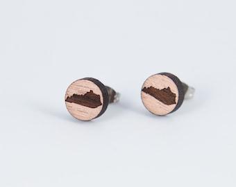 Kentucky Engraved Wood Stud Earrings | Laser Cut Wood Earrings | Minimalist Studs | Men Earrings | Hipster Earrings