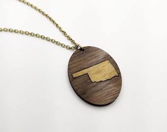 California Gold Painted Laser Engraved Walnut Necklace, Wood Necklace, CA State