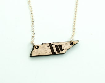 "Tennessee Initial ""TN"" Engraved Necklace, Laser Cut Wood Charm, Tennessee State Necklace, State Shape Necklace, Tennessee State Pride"