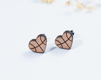 Basketball Heart Stud Earrings