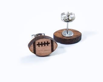 Football Stud Engraved Earrings