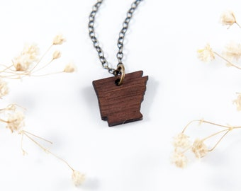 Arkansas Wood Necklace, Laser Cut Wood Charm, Baltic Birch Pendant, Arkansas State Necklace, State Shape Necklace, Arkansas State Pride