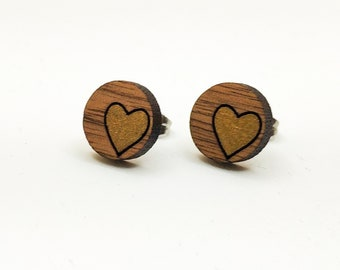 Heart Inside Circle Laser Engraved Stud Earrings