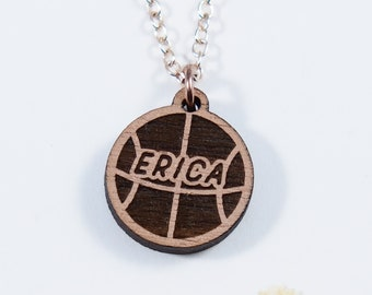 Basketball Personalized Engraved Necklcace