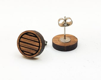 Circle Engraved Geometric Walnut Laser Engraved Earrings