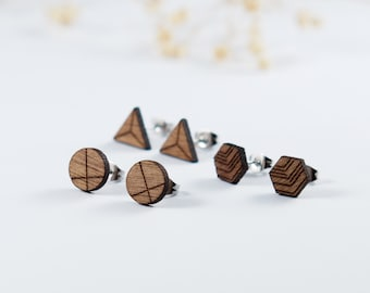 Geometric Wood Stud Earrings | Simple Studs | Mens Earrings | Mens Gift